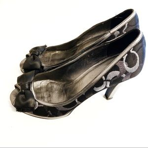 Coach High Heel Shoes Black and Silver Size 9.5.